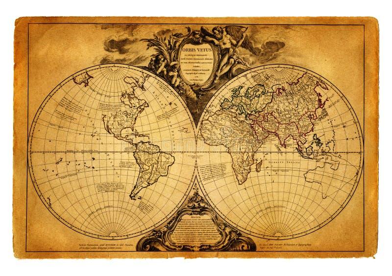 Kaart van wereld 1752 stock afbeeldingen
