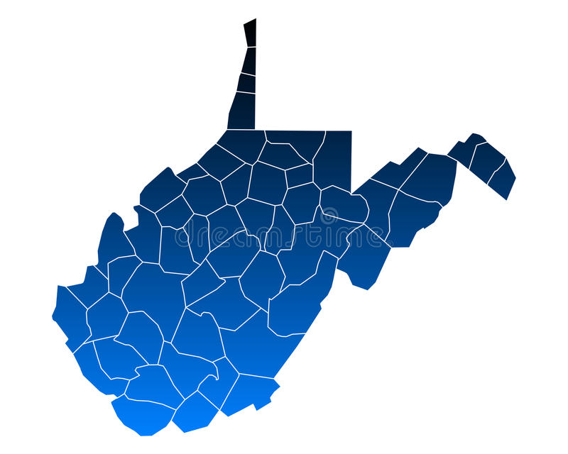 Kaart van West-Virginia vector illustratie