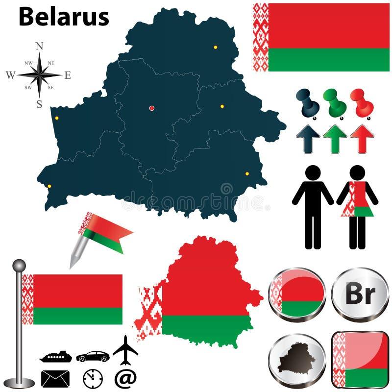 Kaart van Wit-Rusland stock illustratie