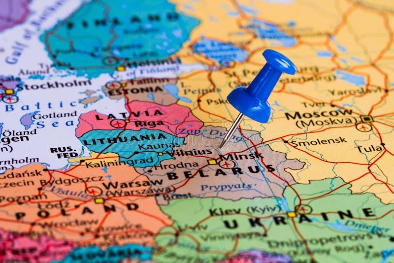 Kaart van Wit-Rusland stock fotografie