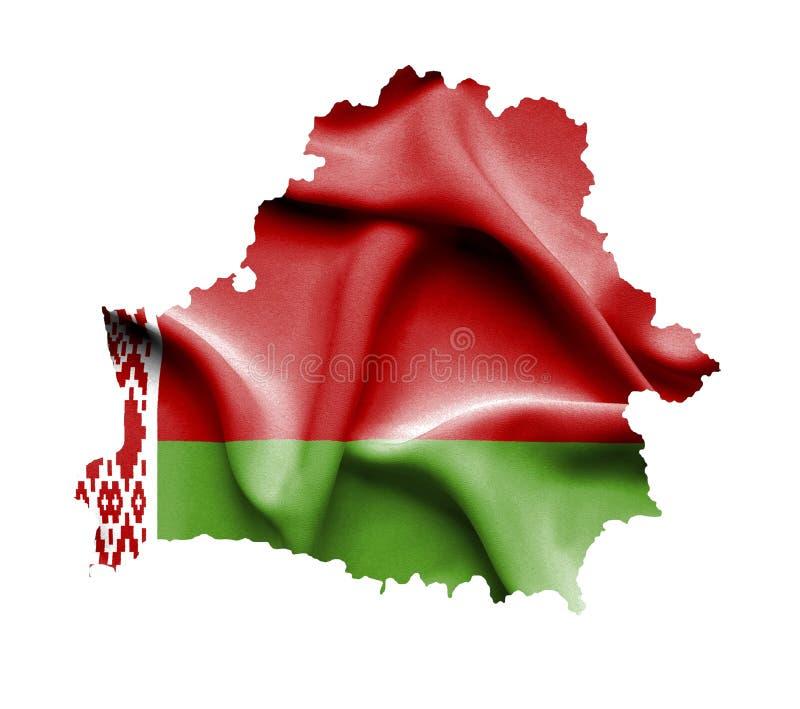 Kaart van Wit-Rusland met golvende die vlag op wit wordt geïsoleerd royalty-vrije illustratie