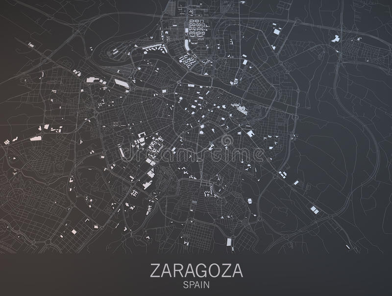 Kaart van Zaragoza, Saragossa, Spanje royalty-vrije illustratie