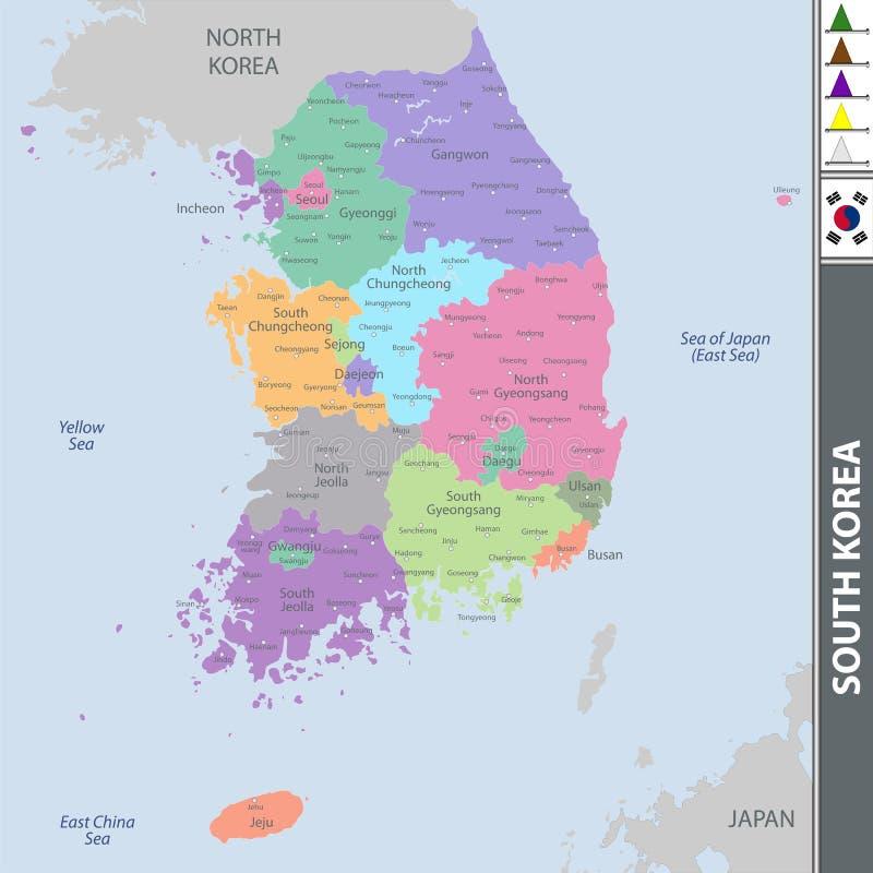 Kaart van Zuid-Korea vector illustratie