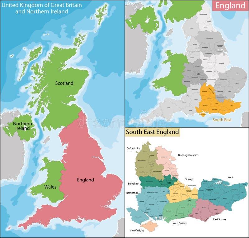 Kaart van Zuidoostenengeland stock illustratie