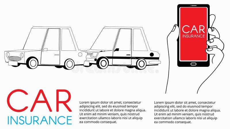 Kaart van zware bestuurder na autoongeval op de weg royalty-vrije illustratie