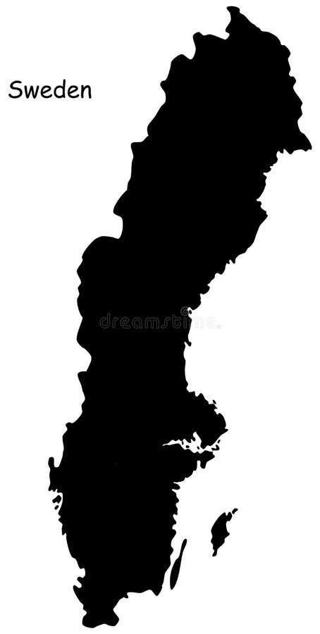 Kaart van Zweden royalty-vrije illustratie