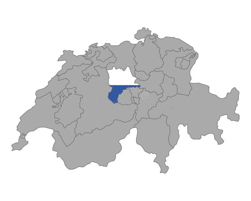 Kaart Van Zwitserland Met Vlag Van Luzern Vector Illustratie