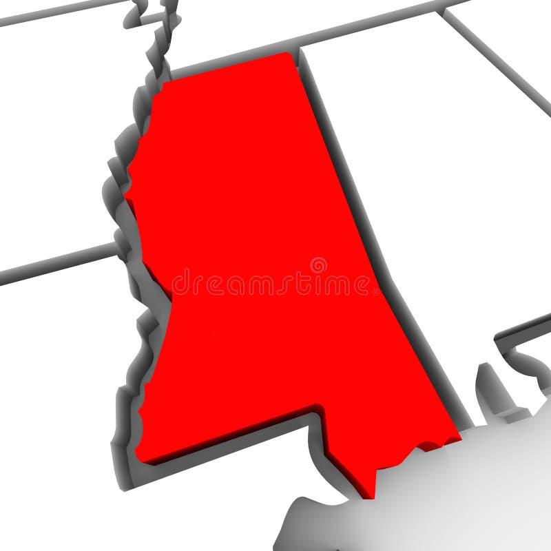 Kaart Verenigde Staten Amerika van de Staat van de Mississippi de Rode Abstracte 3D royalty-vrije illustratie