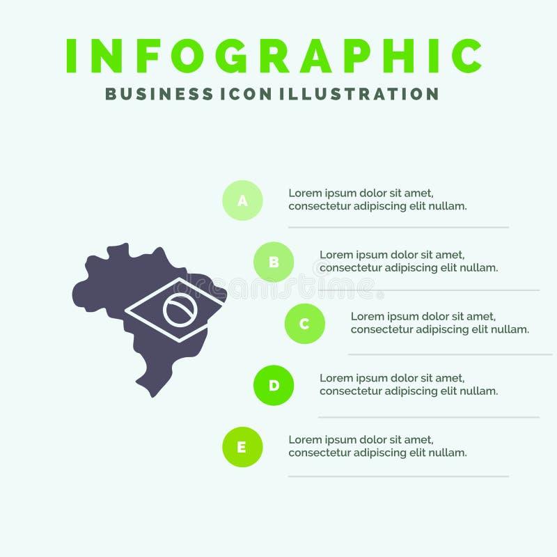 Kaart, Vlag, de Presentatiemalplaatje van Brazilië Infographics 5 stappenpresentatie vector illustratie