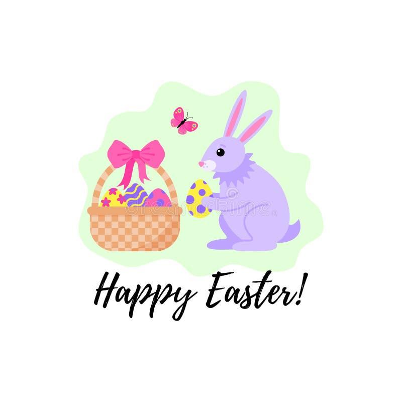 Kaart voor de vakantie van Pasen met een konijn en een mand met eieren Vector illustratie vector illustratie