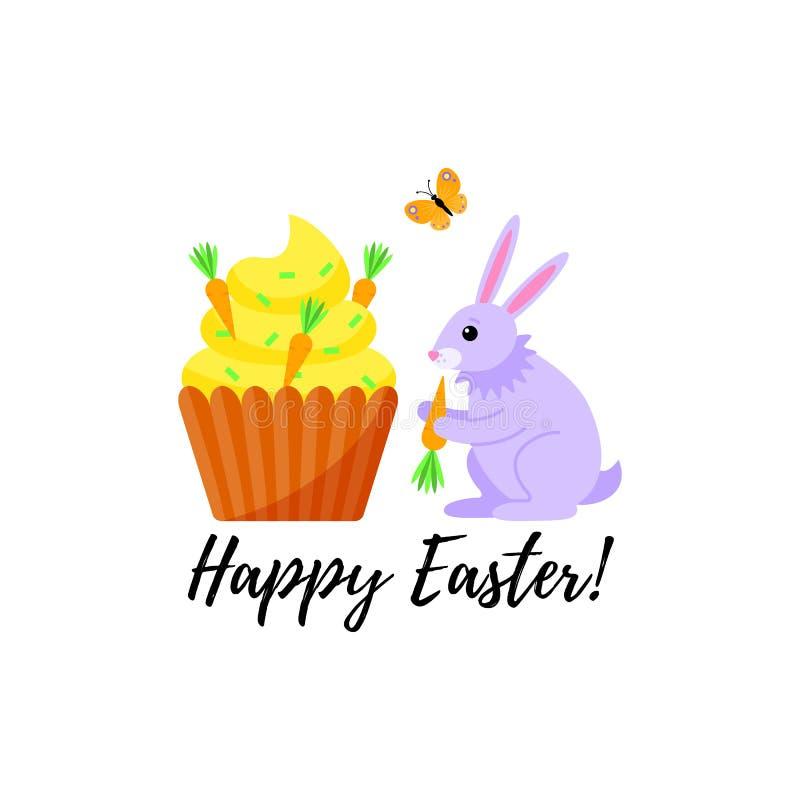 Kaart voor de vakantie van Pasen met een konijn en een wortel cupcake Vector illustratie vector illustratie