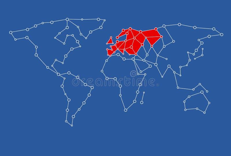 kaart voor grafisch die ontwerpgebruik met Europa in rood wordt gekleurd royalty-vrije illustratie
