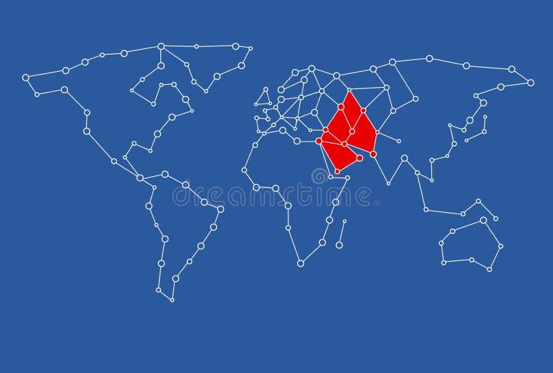 kaart voor grafisch die ontwerpgebruik met het Midden-Oosten in rood wordt gekleurd royalty-vrije illustratie