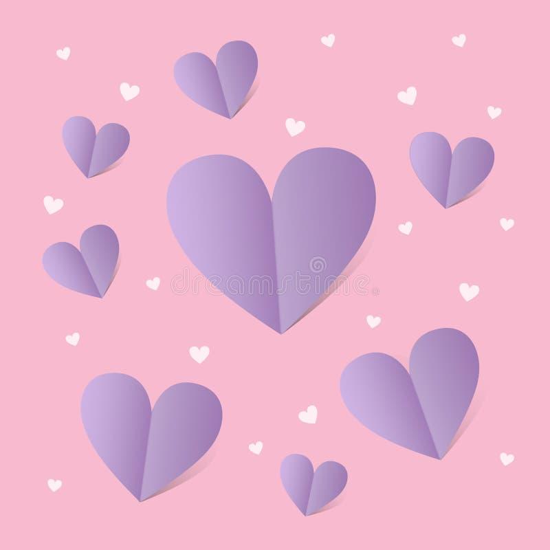 Kaart voor st Valentine dag met lilac harten over roze achtergrond stock illustratie