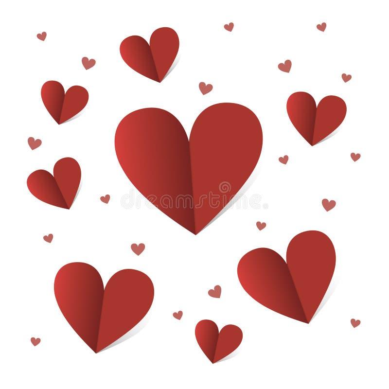 Kaart voor st Valentine dag met rode harten over witte achtergrond royalty-vrije illustratie