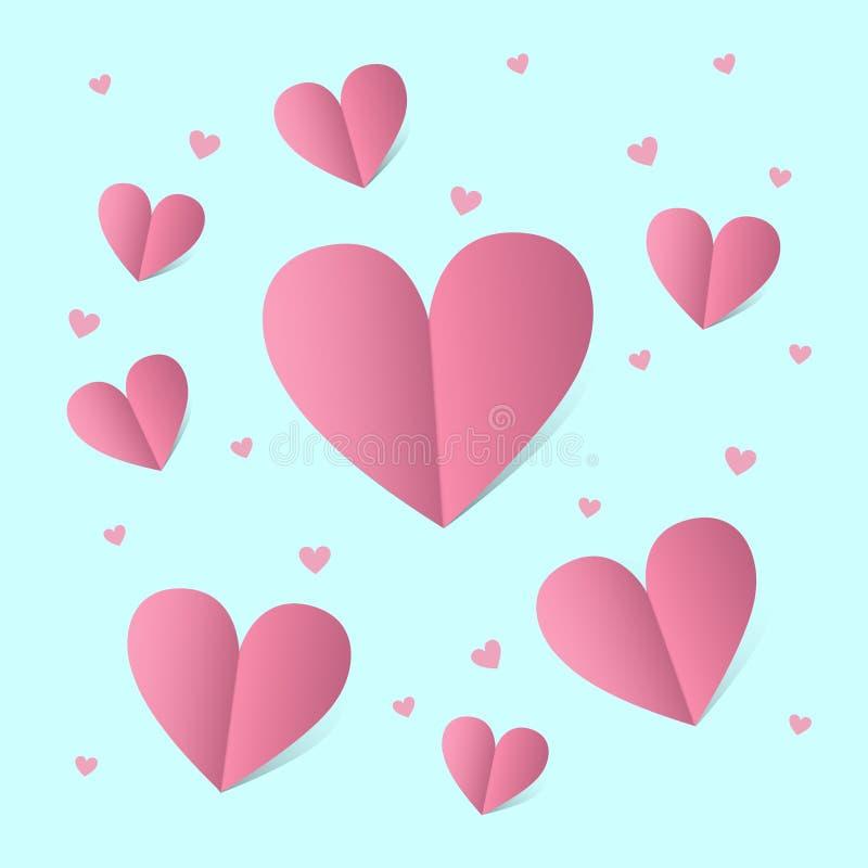 Kaart voor st Valentine dag met roze harten over blauwe achtergrond vector illustratie