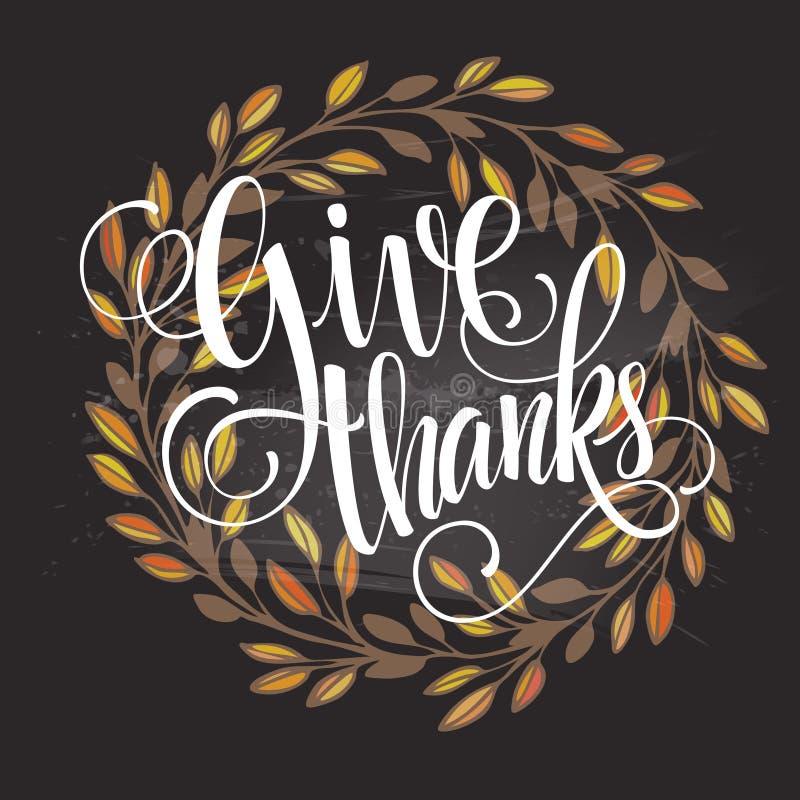 Kaart voor Thanksgiving day op het bord met stock illustratie