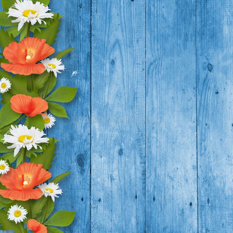 Kaart voor uitnodiging met boeket van bloemen stock foto's