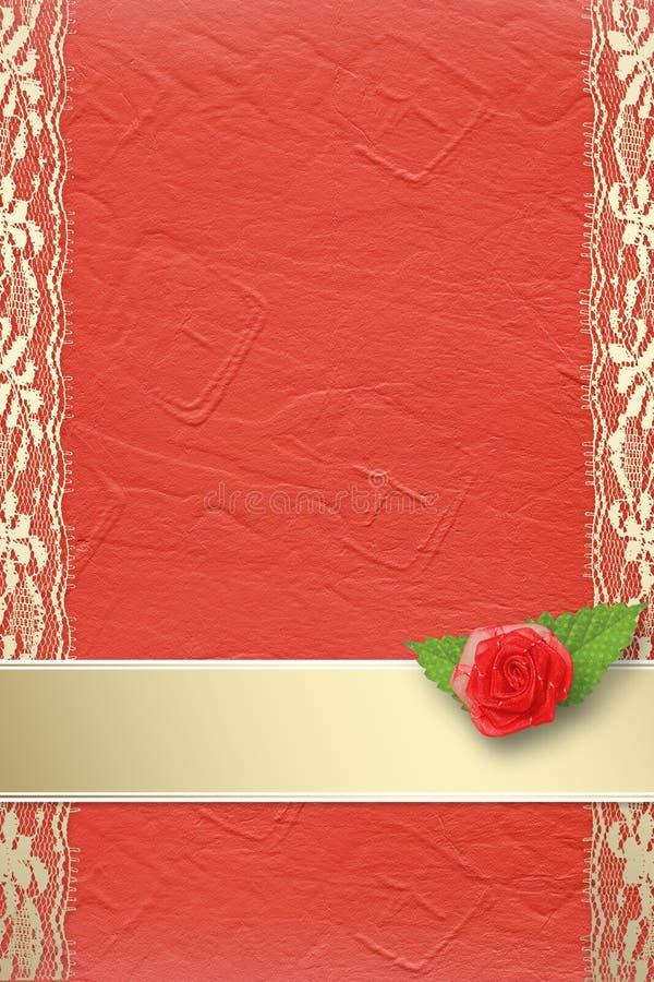 Kaart voor uitnodiging met knoopsgat en kant vector illustratie