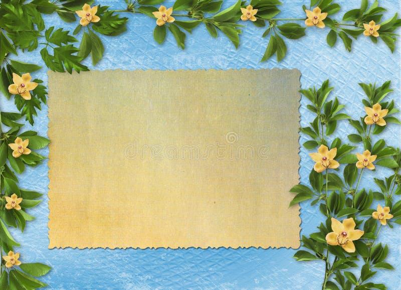 Kaart voor uitnodiging met orchideeën en takjes stock foto's