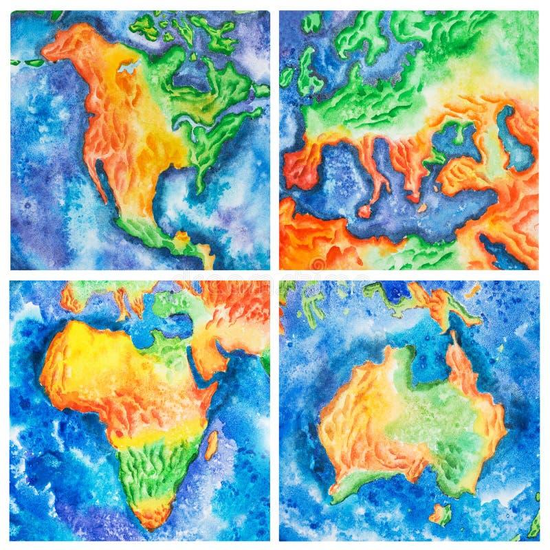 kaart Waterverfillustratie van het vasteland van Australië Afrika Amerika Europa, continenten stock illustratie