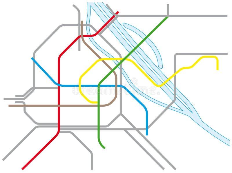 Kaart Wenen u-en s-Bahn stock illustratie