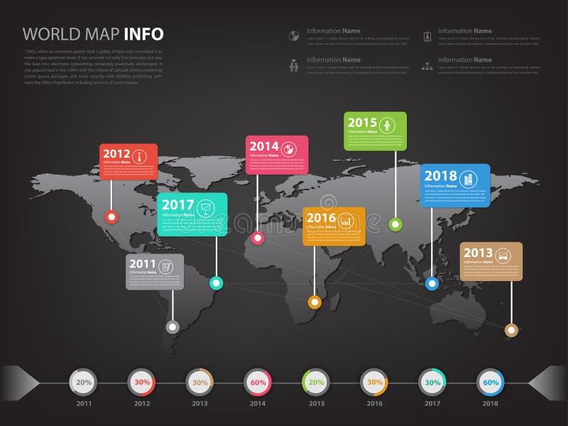 Kaart wereldwijd infographic voor bedrijfspresentatie en slidesho stock foto's