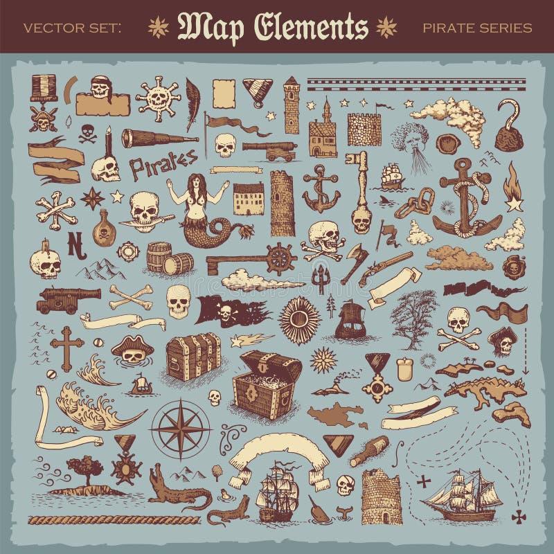 Kaartelementen en piraatpunten royalty-vrije illustratie