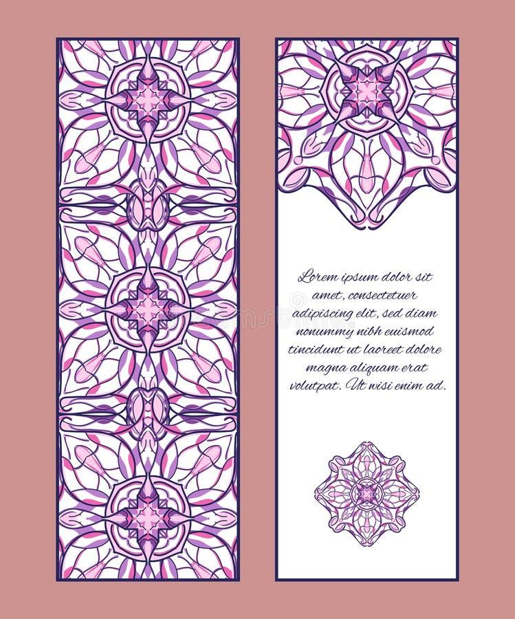 Kaarten of banners met sier symmetrische ornamenten vector illustratie