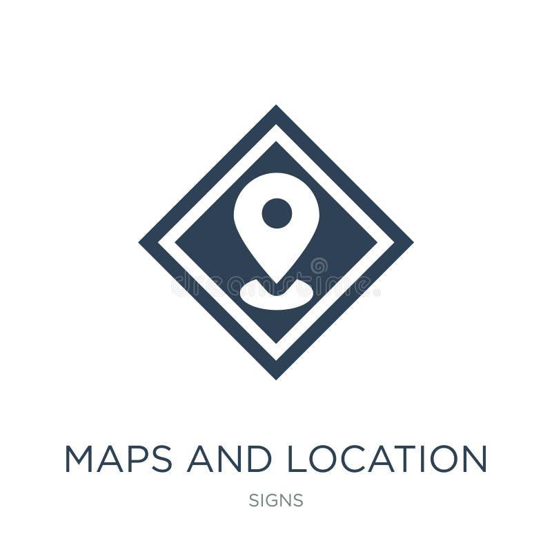 kaarten en plaatspictogram in in ontwerpstijl kaarten en plaatspictogram op witte achtergrond wordt geïsoleerd die kaarten en pla vector illustratie