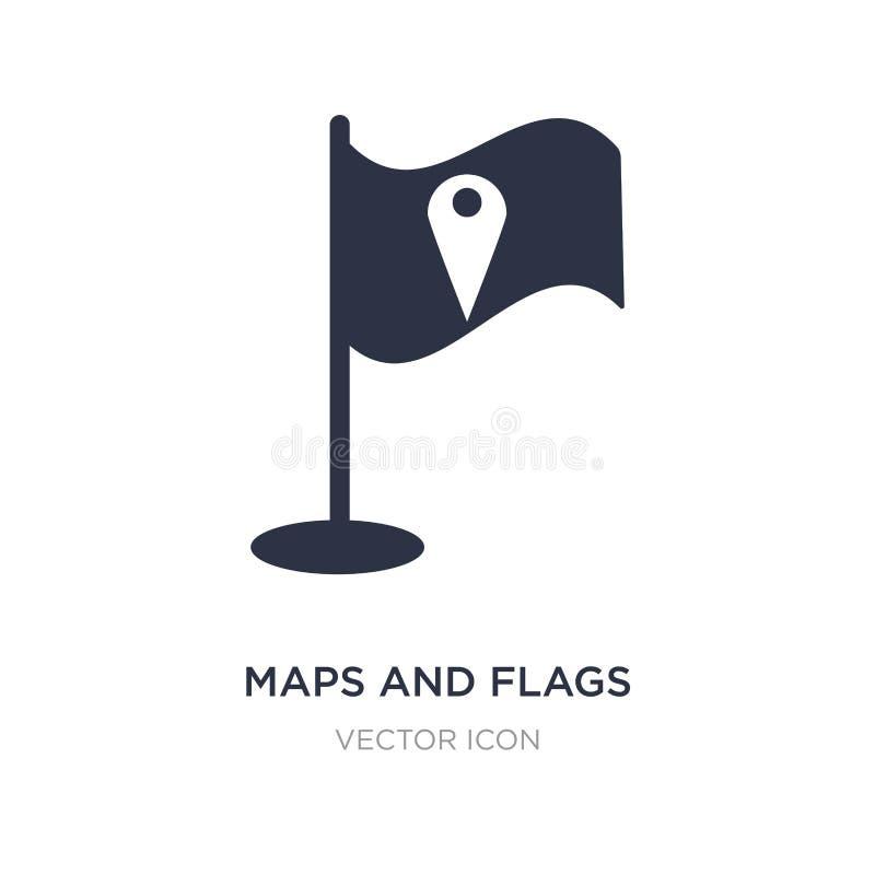 kaarten en vlaggenpictogram op witte achtergrond Eenvoudige elementenillustratie van Kaarten en Vlaggenconcept vector illustratie