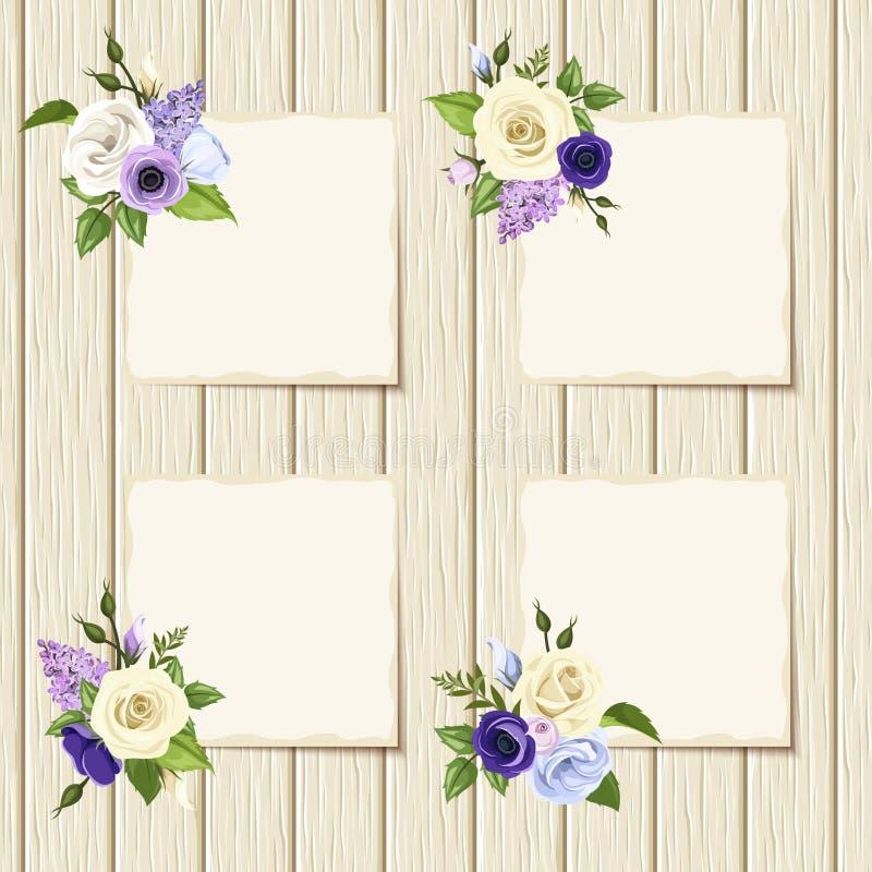 Kaarten met blauwe, purpere en witte bloemen op een houten achtergrond vector illustratie