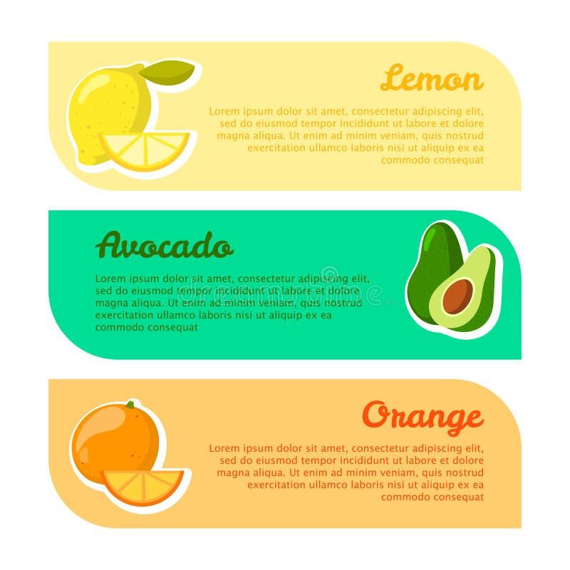 Kaarten met ruimte voor uw tekst vruchten voordelen Citroen, avocado en sinaasappel vector illustratie