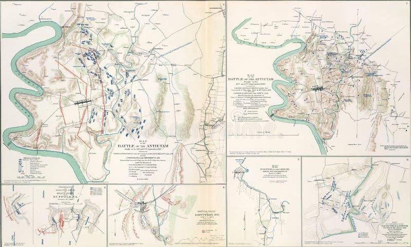 Kaarten van het slagveld van Antietam, 1862 stock illustratie