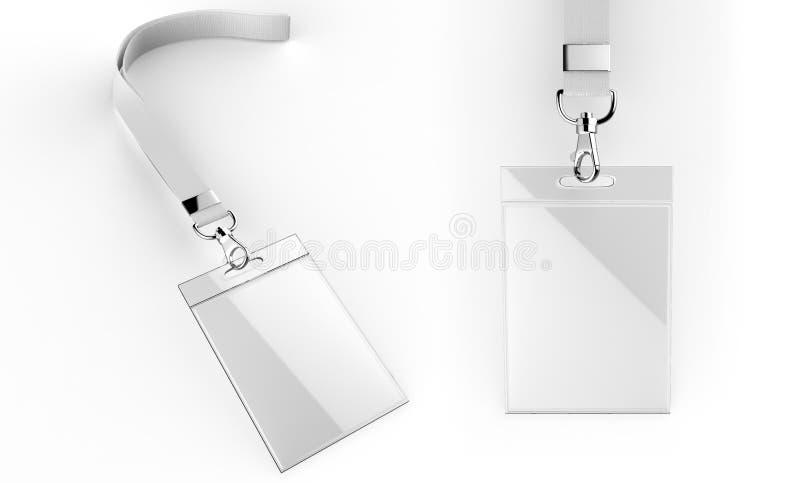 Kaarten van identificatie die bespotten de lege lege plastic die identiteitskaart met greep worden geplaatst en de sleutelkoorden vector illustratie