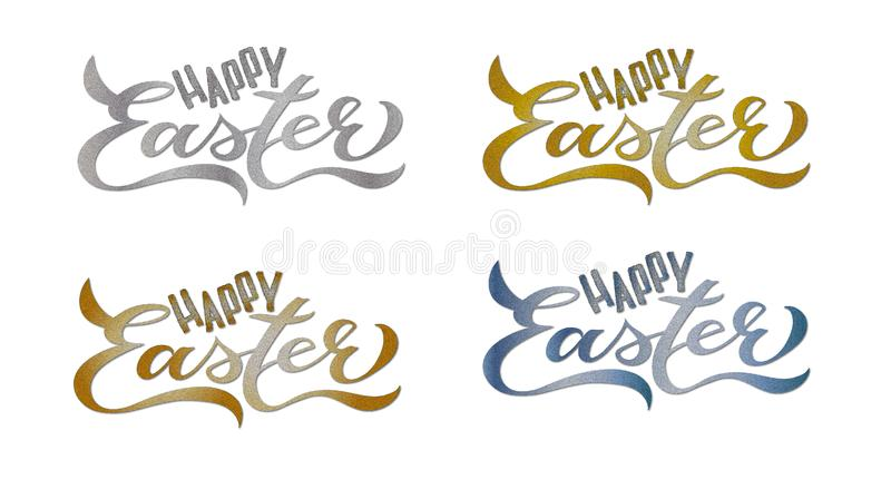 4 Kaarten van reeks de Gelukkige Pasen: Het met de hand geschreven Van letters voorzien royalty-vrije illustratie
