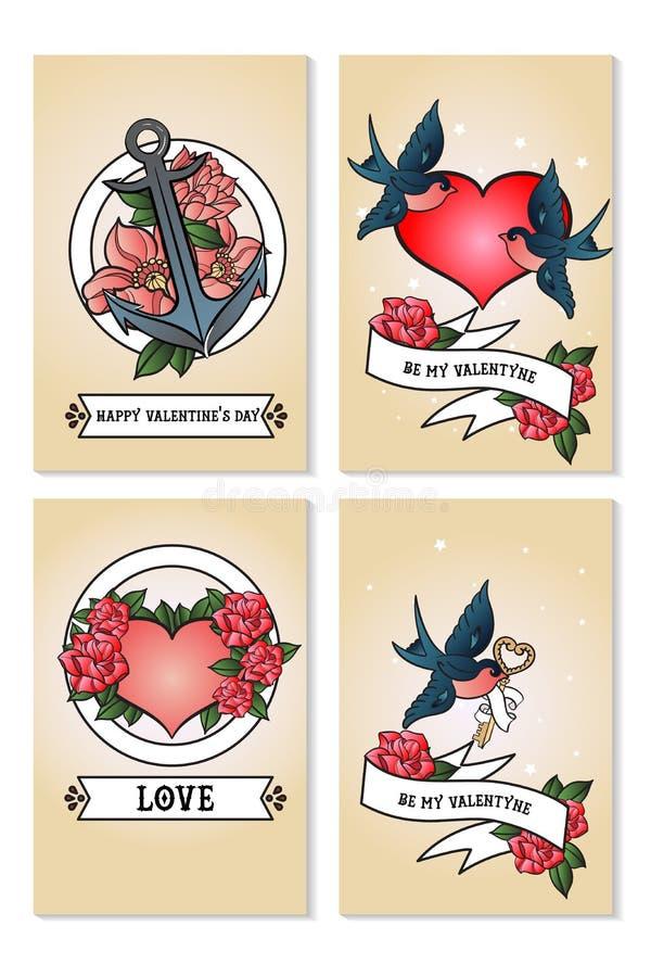 Kaarten voor st Valentine dag worden geplaatst die De rode en witte harten, slikt, verankert, verklaring van liefde vector illustratie
