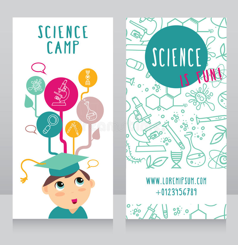 Kaarten voor wetenschapskamp royalty-vrije illustratie