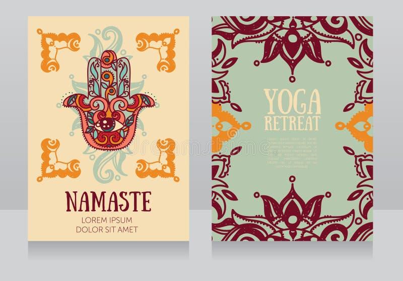 Kaartenmalplaatje voor yogaterugtocht of yogastudio vector illustratie
