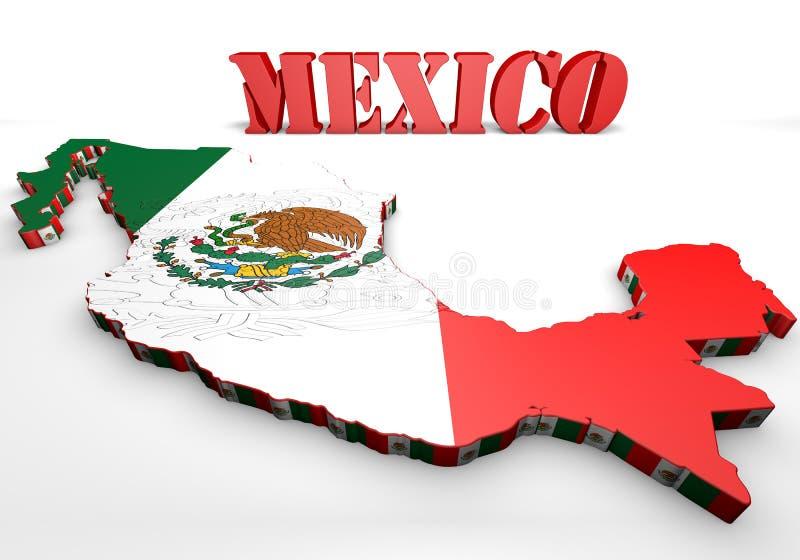 Kaartillustratie van Mexico met vlag stock illustratie