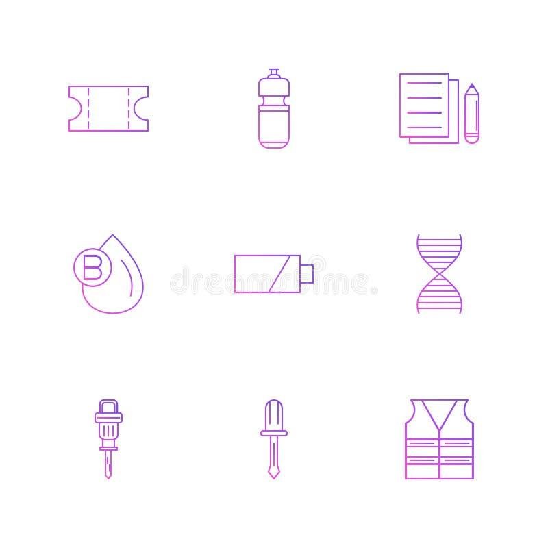 Kaartje, fles, documenten, bloed, hefboomhamer, batterij, D vector illustratie