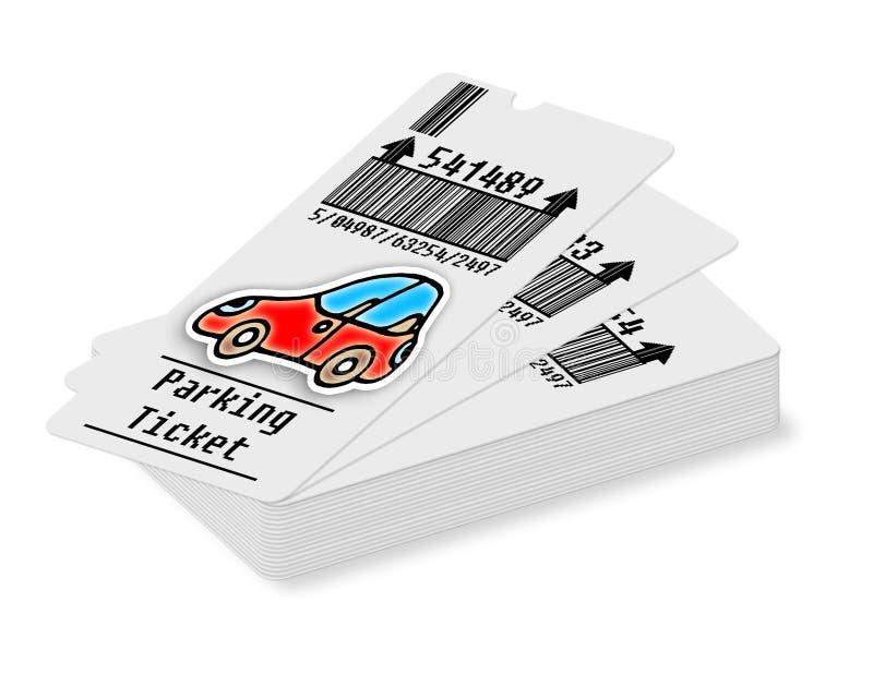 Kaartje voor parkeerterrein op witte achtergrond - conceptenbeeld vector illustratie