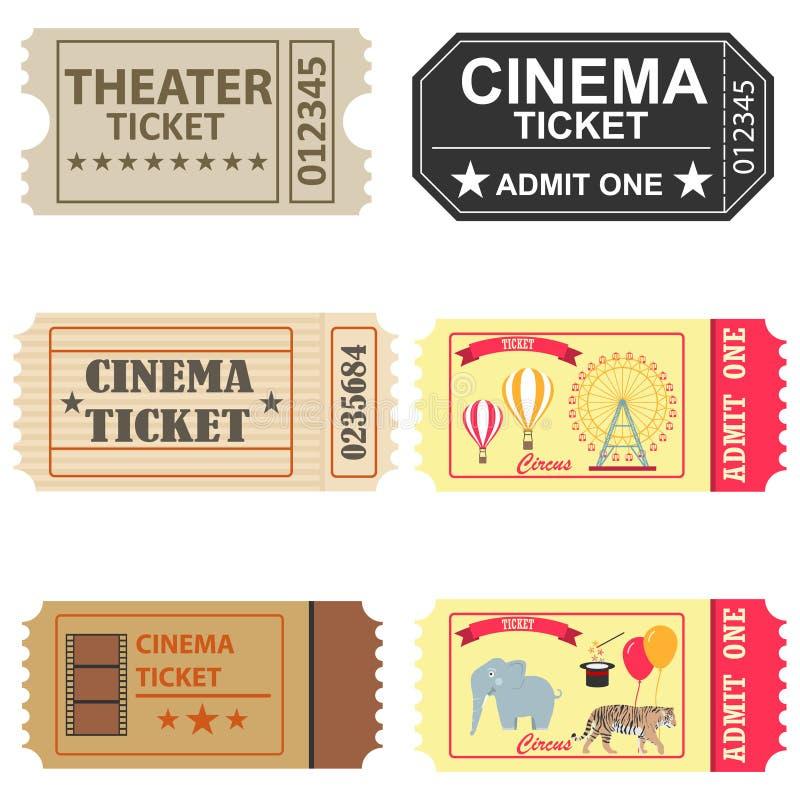 Kaartjes, een grote reeks kaartjes aan de bioskoop, een kaartje aan het circus en het theater royalty-vrije illustratie
