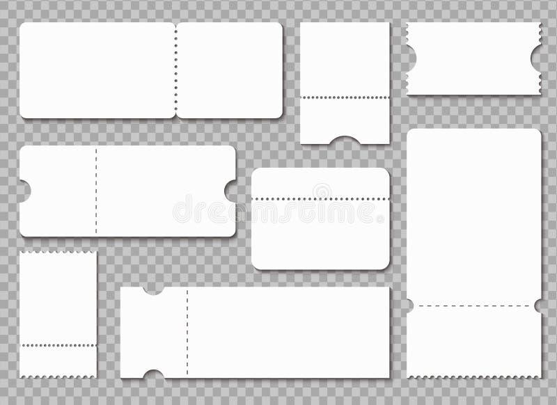 Kaartjesmalplaatje Witte lege coupon De loterijloterij laat kaartjes, het geïsoleerde model van het overlegtheater ontvangstbewij vector illustratie