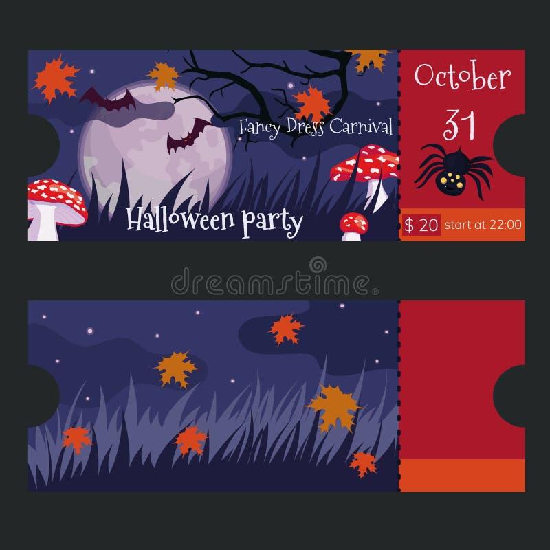 Kaartjesontwerp voor de Halloween-partij Vector Malplaatje vector illustratie