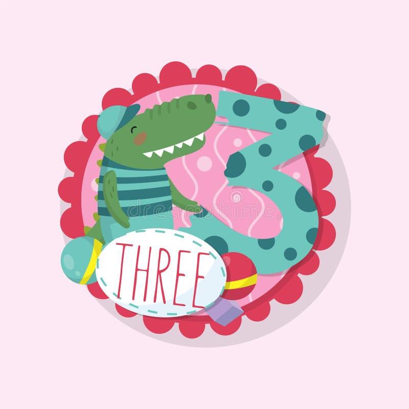 Kaartmalplaatje voor de wiskundespel van pretjonge geitjes Kleurrijk rond embleem met aanbiddelijke krokodil en nummer 3 Vlakke v stock illustratie