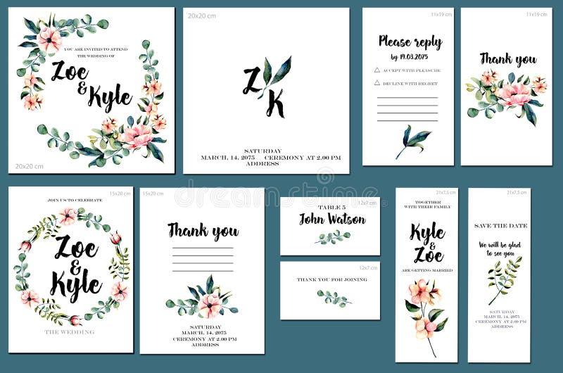 Kaartmalplaatjes met waterverf roze bloemen en van eucalyptustakken achtergrond worden geplaatst die; artistiek ontwerp voor zake vector illustratie