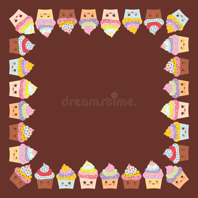 Kaartontwerp voor uw tekst, bannermalplaatje met vierkant kader, Cupcake, snuit met roze wangen en het knipogen ogen, pastelkleur royalty-vrije illustratie