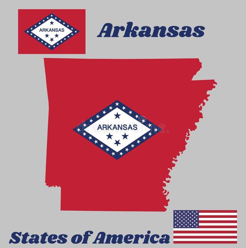 Kaartoverzicht en vlag van Arkansas, het rechthoekige gebied van A van rood, een grote witte die diamant, door blauw en het woord vector illustratie