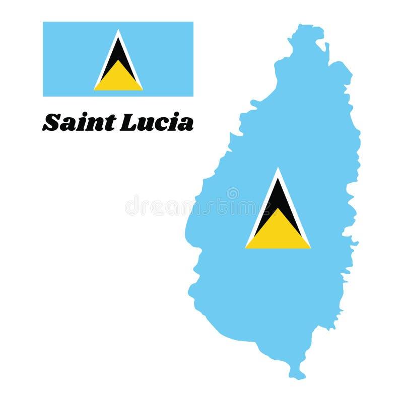 Kaartoverzicht en vlag van Heilige Lucia Een lichtblauw gebied met de kleine gouden driehoek achter de grote wit-gescherpte zwart royalty-vrije illustratie